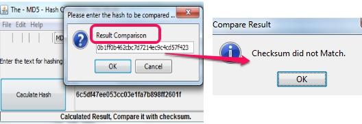 Hash Calculator- results comparison