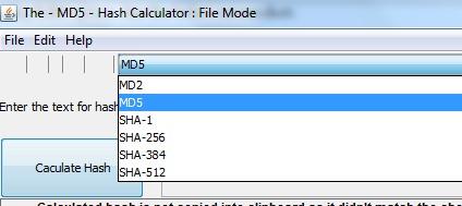 Hash Calculator- select a hash