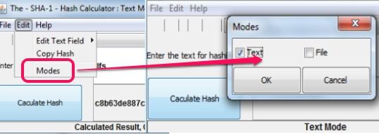 Hash Calculator- select a mode