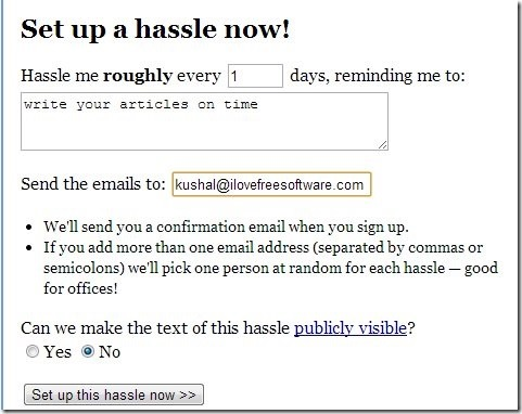Hassle Me-maintain new year resolutions-home page