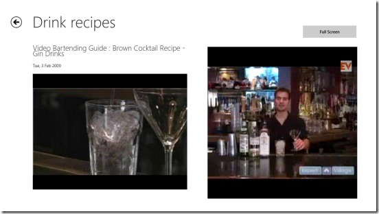 How To Bartend - playing video tutorial on the right