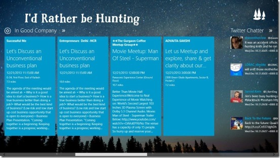 I'd Rather be Hunting - viweing events and tweets on hunting in main screen