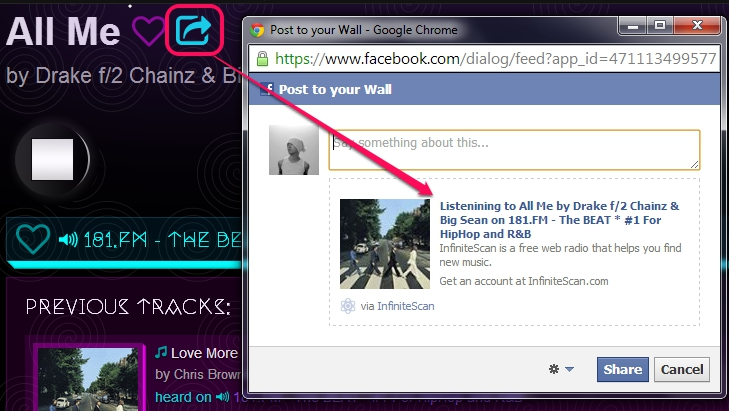 InfiniteScan- share song to Facebook