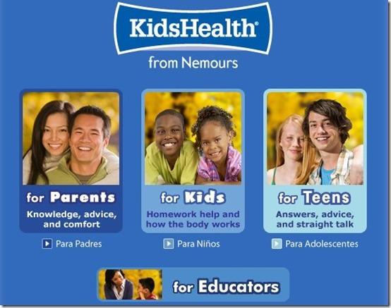 KidsHealth-health website for kids-home page