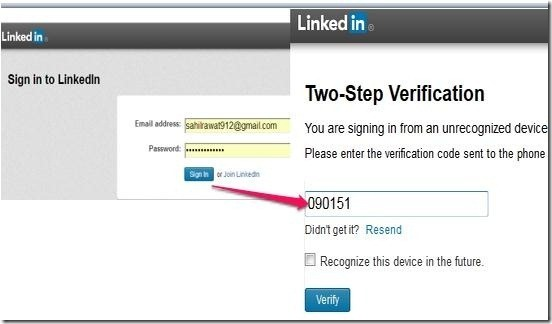 LinkedIn Two factor authentication