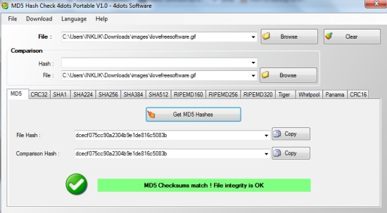 MD5 Hash Check- interface