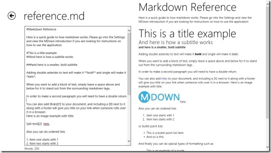 MDown - refrence
