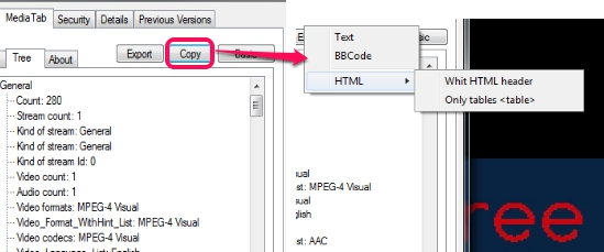 MediaTab- copy media file information