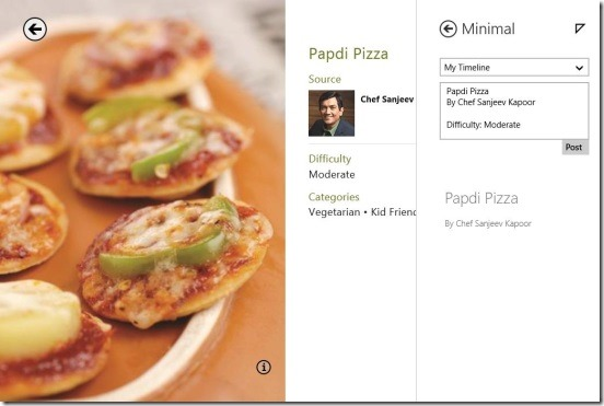 Minimal - app's integration with Food & dinning app to share in Facebook