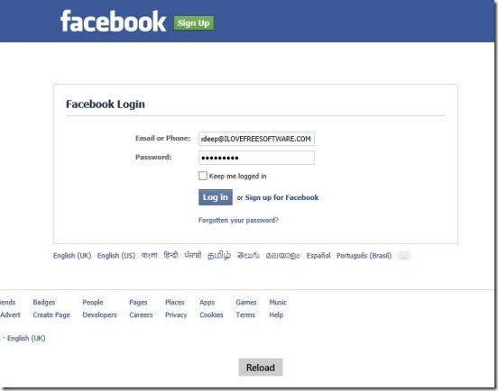 Minimal - connecting to Facebook