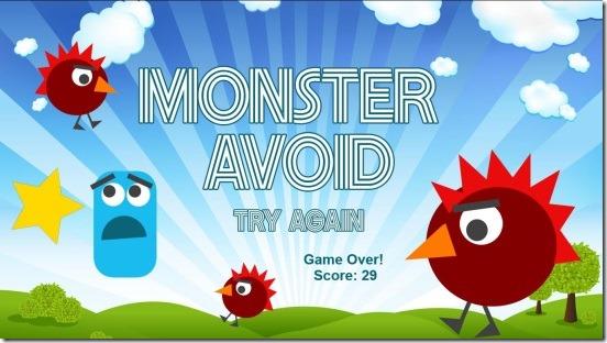 Monster Avoid - game result