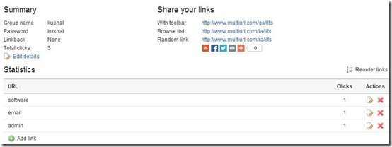 MultiURL- free URL Shortener-Links tab