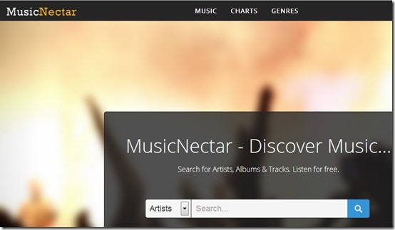 MusicNectar-search and listen to music online-home page