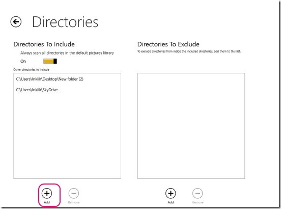 My Memories - adding directories