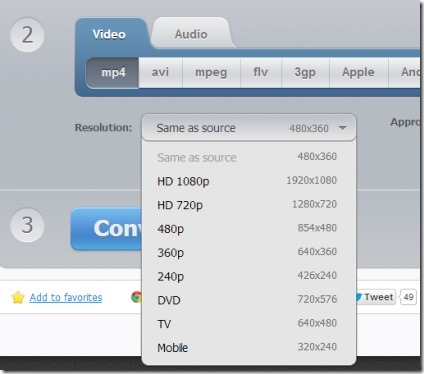 Online Video Converter- select output video format and quality