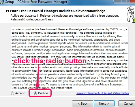 PCMate Free Password Manager- installation process