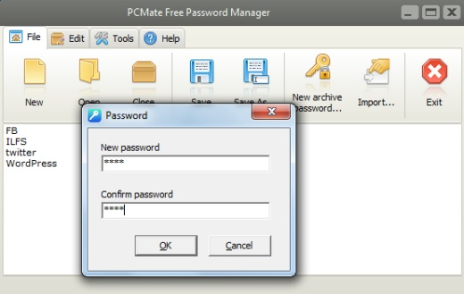 PCMate Free Password Manager- interface