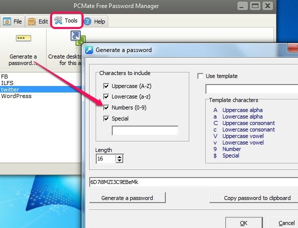 PCMate Free Password Manager- tools option