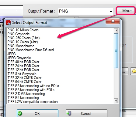 PDF To JPG Expert- select output format