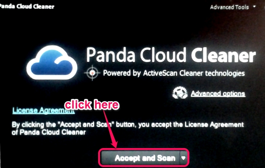Panda Cloud Cleaner rescue USB drive- accept and scan button