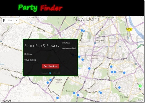 Party Finder - details of places