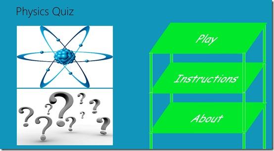 Physics Quiz- Main screen