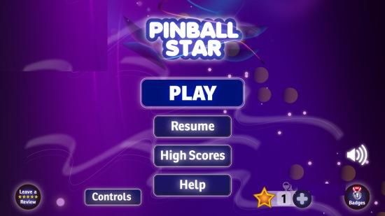 Pinball Star- Main menu