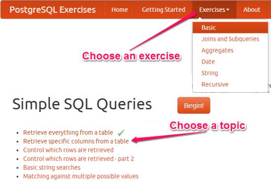 Practice SQL For Free - PostgreSQL Exercises - Getting Started