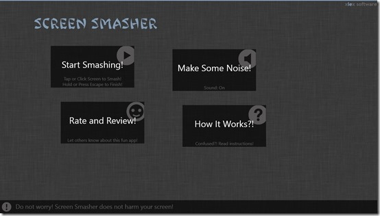 Screen Smasher- main menu