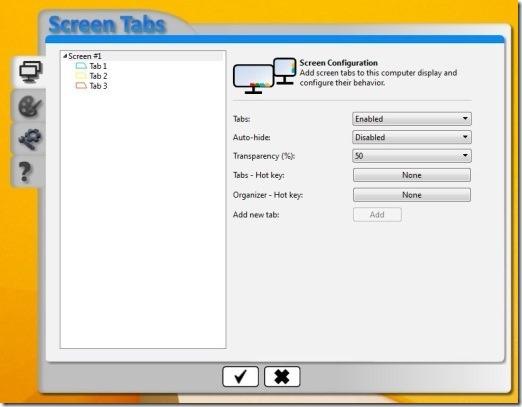 ScreenTabs settings