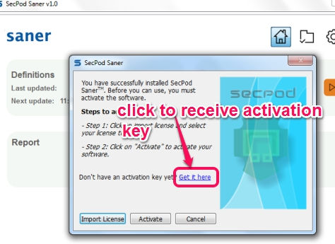 SecPod Saner- activate the software