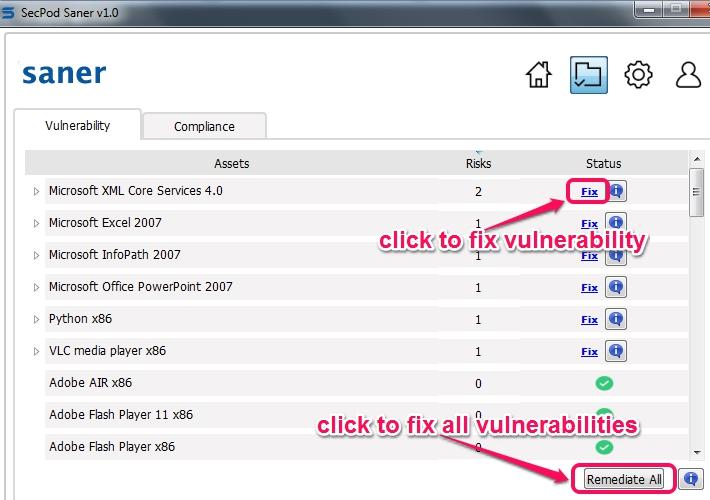 SecPod Saner- fix vulnerabilities
