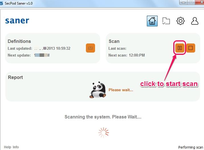 SecPod Saner- start PC scan