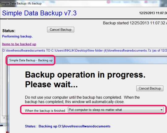 Simple Data Backup- backup in progress