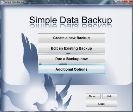 Simple Data Backup- interface