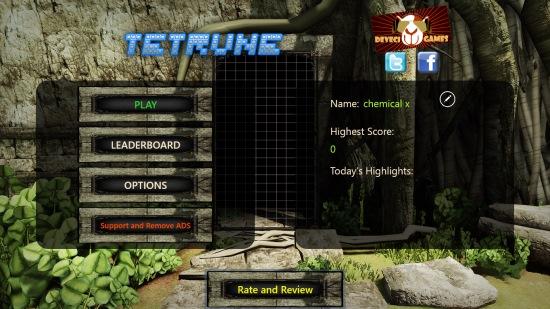Tetrune- start screen