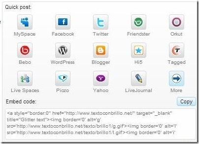 Textoconbrillo web code