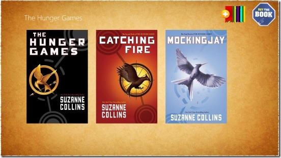 The Hunger Games - main screen (three books)
