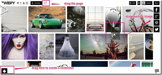 Twibfy-online photo sharing-drag and drop