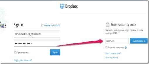 Two Step Authentication in Dropbox