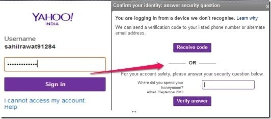 Two Step Authentication in Yahoo! Mail