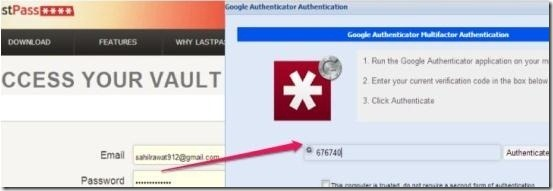 Two step authentication in LassPass