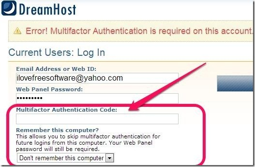 Two step authentication in dreamhost