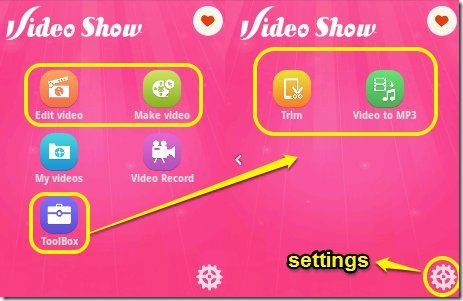 VideoShow interface