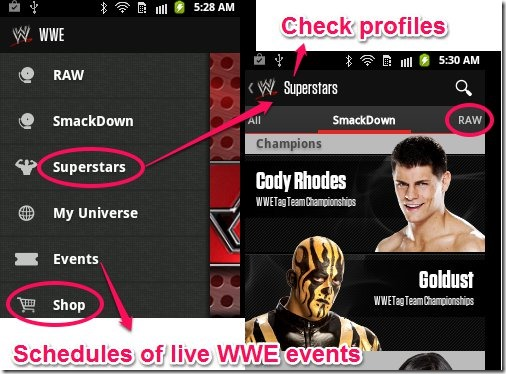 WWE Features