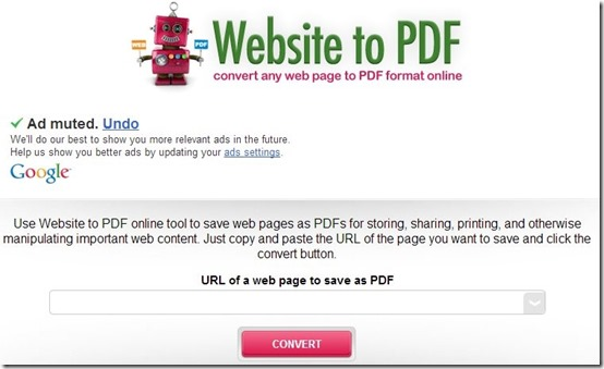 Website To PDF-website to pdf-home page