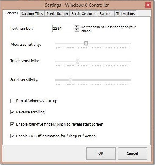 Windows 8 Controller - sensitivity settings