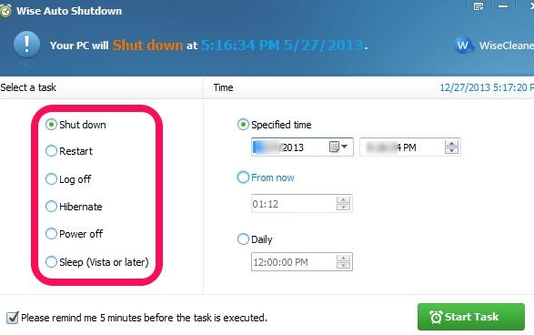 Wise Auto Shutdown- select a power option