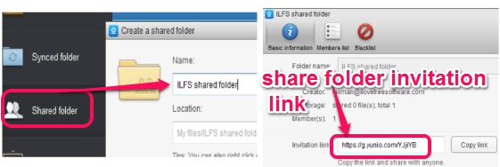 Yunio- create and share a folder