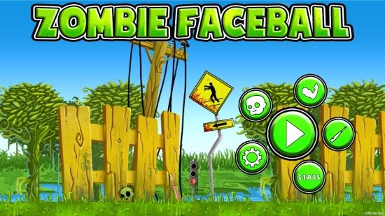 Zombie Faceball- Main home screen